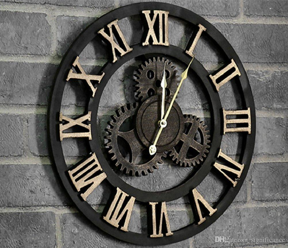 Spj retro vintage wall clock 3d handmade decorative luxury big see larger image amipublicfo Gallery