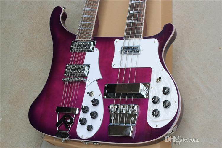 rare ric purple double neck guitar 4003 4 stings electric bass 360 12 strings electric guitar. Black Bedroom Furniture Sets. Home Design Ideas