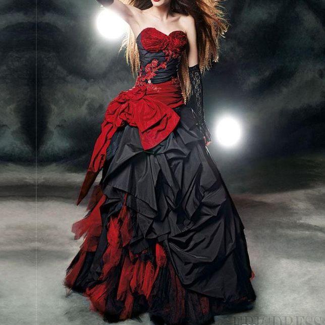 Discount Vintage Black Gothic Wedding Dresses A Line: Discount Vintage Black And Red Gothic Wedding Dresses