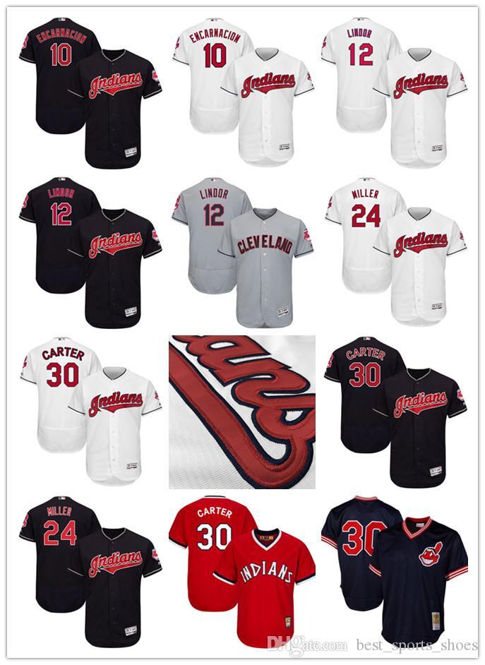 c0d0d4677 ... Jersey 2017 Cleveland Indians Baseball 30 Joe Carter 10 Edwin  Encarnacion Andrew Miller 24 Majestic Flex Base Baseball Men ...