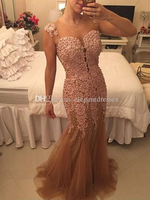 Champagne tulle With Gold Lace Evening Dresses 2017 Paolo Sebastian Dresses Party Evening Gowns Crystals Beaded Pleated Formal Prom Dress