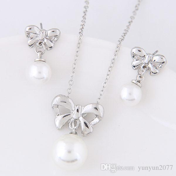 Fine Accessories Jewelry sets Pearls Rhinestones Bridal Wedding Chokers Chains Necklaces Bow Pendants Charm Drop Dangle Earrings For Women