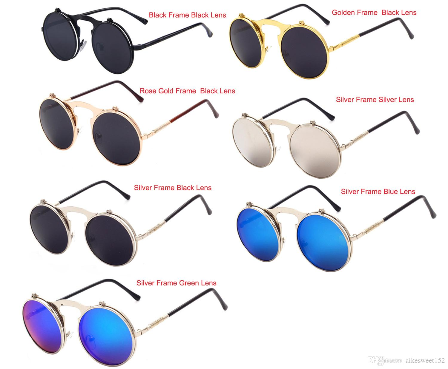 12faea72d9 2019 Unisex Fashion UV400 Steampunk Gothic Vintage Flip Up Round Eyeglasses  Retro Metal Frame Mirrored Sunglasses Goggles From Aikesweet152