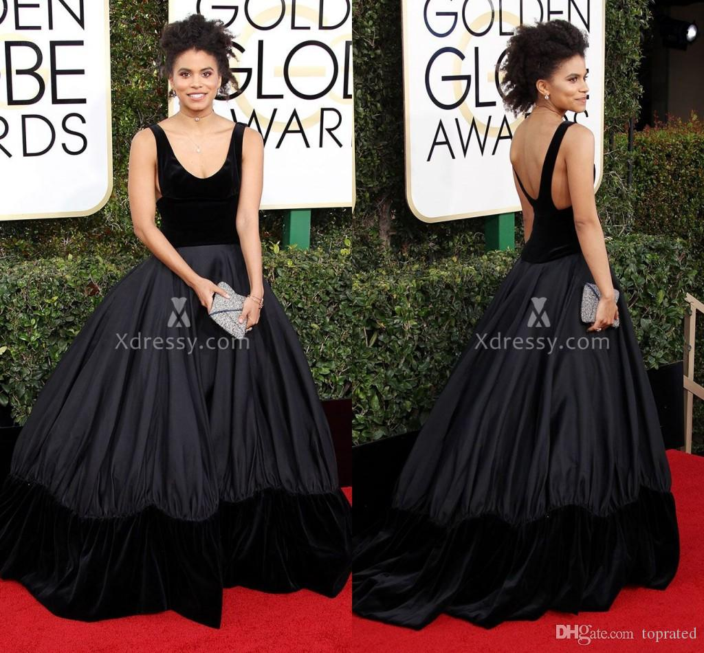 Black Velvet Scoop Neck Ball Gown Celebrity Prom Dresses Zazie Beetz ...
