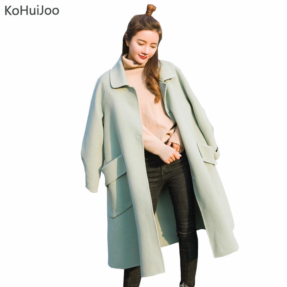 brand new deec7 753a2 Herbst Winter Lose Große Kragen Lange Wolle Blends Mantel Frauen Langarm  Taschen Koreanische Mode Damen Wolle Jacken Hellgrün