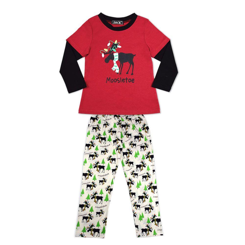New Xmas Family Corrispondenza Abiti Natale sciarpa renne rosse Set pigiama Pigiama Sleepwear Madre Bambini Papà Figlio Homewear
