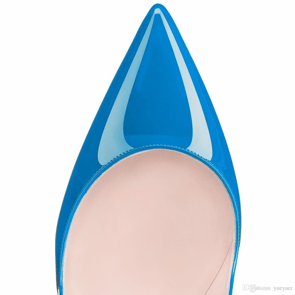 Zandina Ladies Handmade Fashion ASO-kate 120mm scarpe a punta tacco partito classico tacco alto scarpe a spillo blu K417