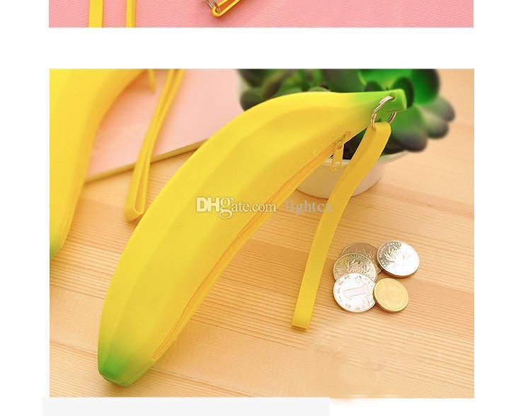 Men Women Girls Cute Lovely Silicone Banana Coin Purses Zero Money Pencil Pen Case Bag Wallet Pouch