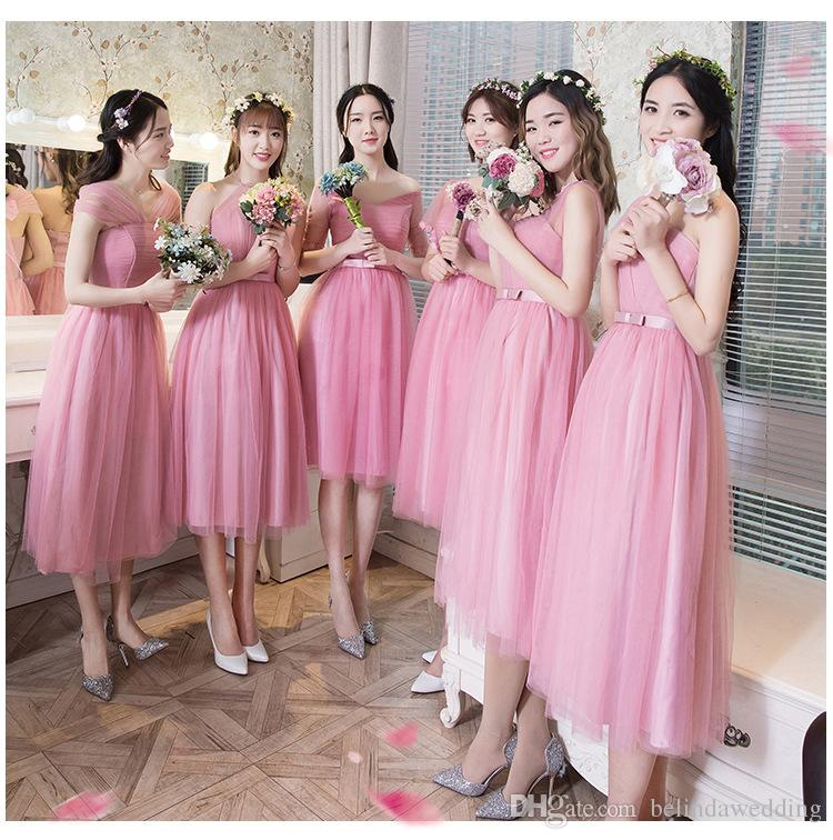 43476cd05646 Peachy Pink Bridesmaid Dress Blush Chiffon Cheap Wedding Party Prom Dresses  Vestido De Festa De Casamento Dama De Honra Under 50 Plus Size Bridesmaid  ...