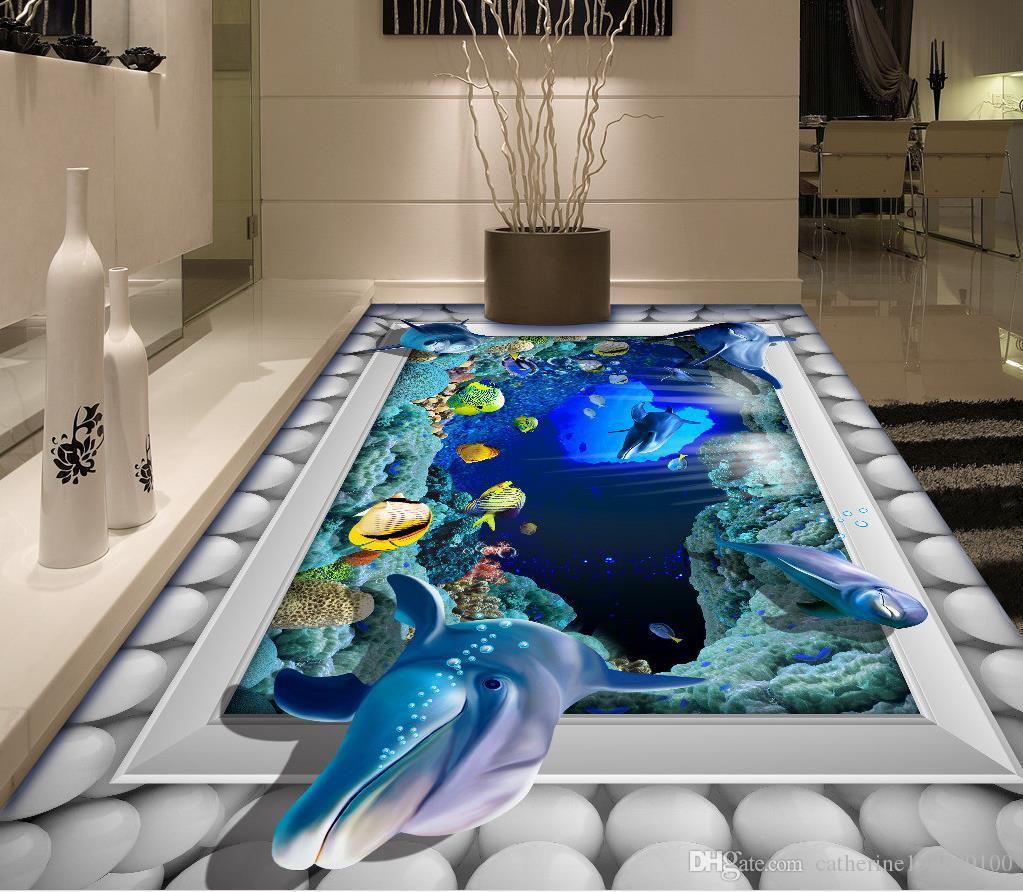 underwater world 3d three dimensional painting bathroom floor, Badezimmer ideen