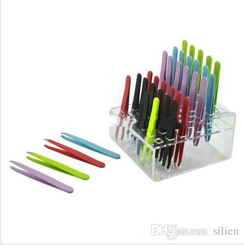 En gros nouvelle arrivée vente chaude coloré en acier inoxydable incliné pointe pinces à sourcils épilation outils