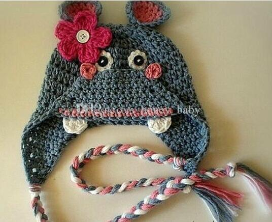 Children Happy Hippo Crochet Hat Baby Boys Pony Horse Knitted Caps