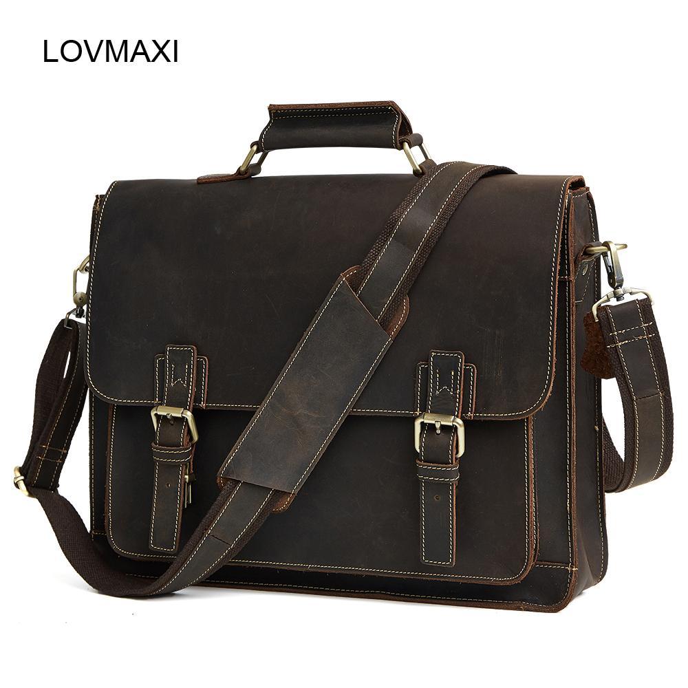 4922e7fb68 Wholesale- Men s Genuine Leather Briefcases Men Vintage Crazy Horse ...