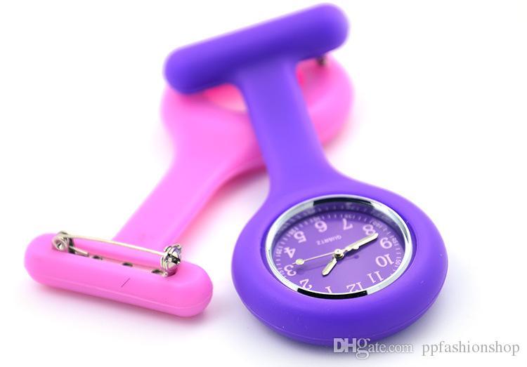 Moda yüksek kaliteli saatler, silikon hemşire cep saati, göğüs masa, pin asılı masa, moda renkler stil çeşitli wholesa saatler