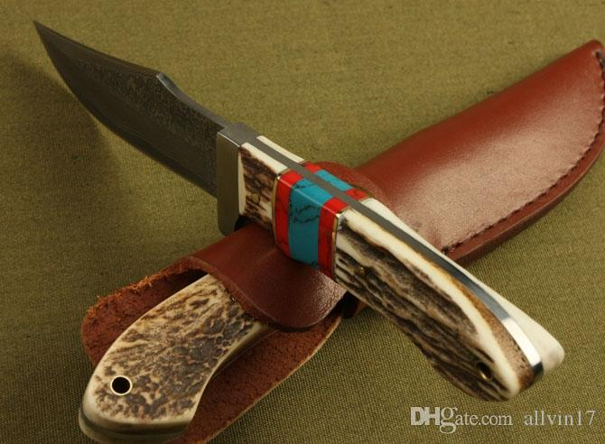 Top Quality Damascus Survival Straight Knife Antler Handle Outdoor Camping Hiking Hunting Fishing Fixed Blade Knives With Leather Sheath