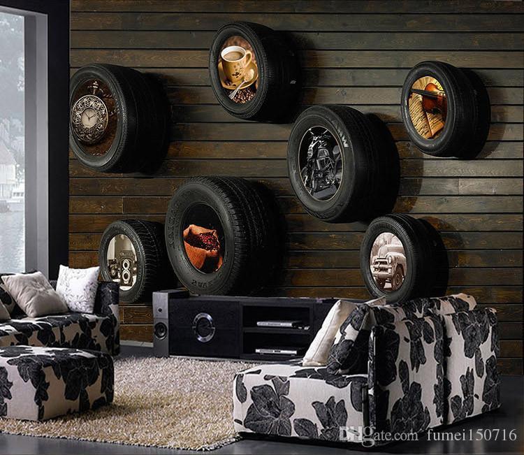 Vintage car tires ktv internet bar theme wallpaper living for Car themed living room