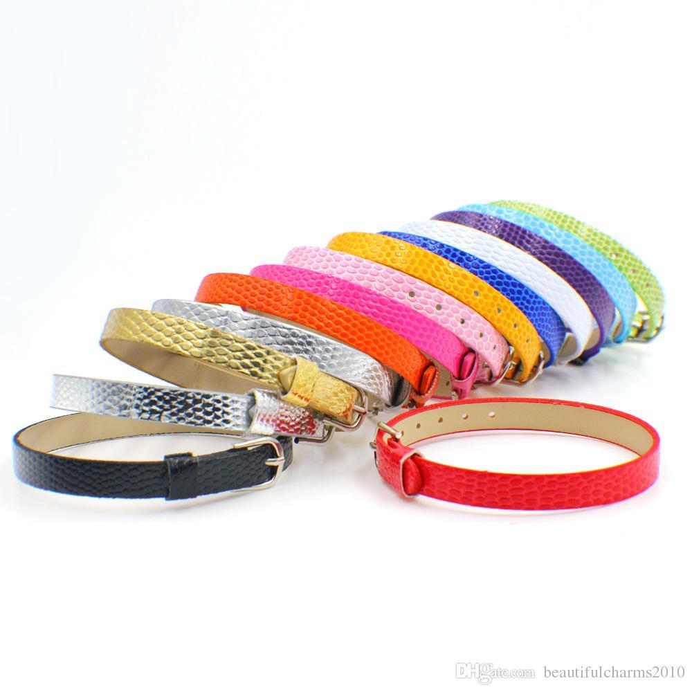Venta al por mayor 50 tiras 8 mm de ancho / 21 cm de longitud DIY pulsera de pulsera de cuero de PU para 8mm diapositivas y encantos