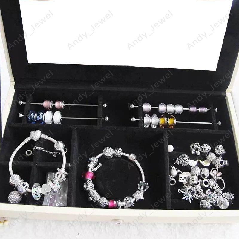 Tek Katmanlı Mücevher Kutuları Avrupa Pandora Tarzı Charms Boncuk Kolye uyar Bilezikler ve Kolye brandede DIY Mücevherat