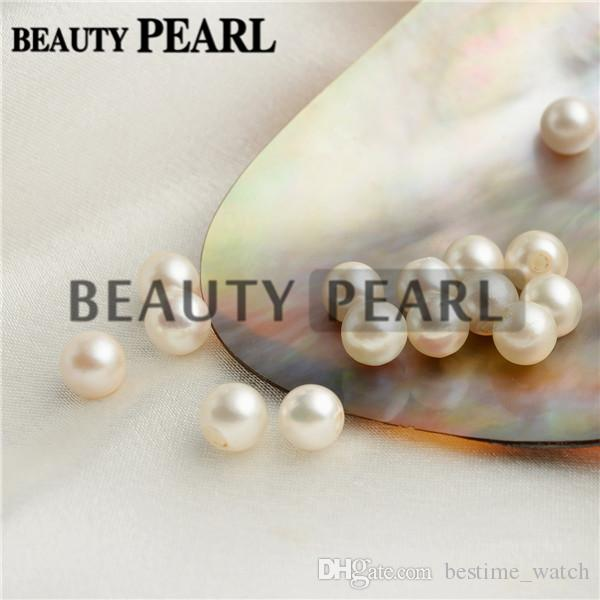 Wholesale Round White Pearls Half-drilled Loose Beads Seawater Pearl Bead Raw Pearls 7-8mm for DIY