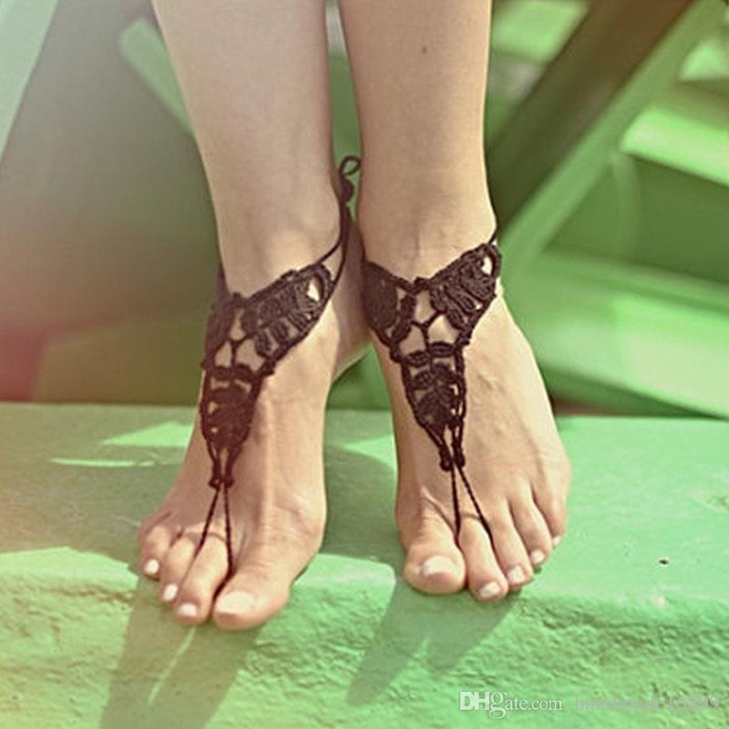 OR White Crochet Barefoot Sandals Nude Shoes Foot Jewelry Bridesmaid ... e844e9dbd094