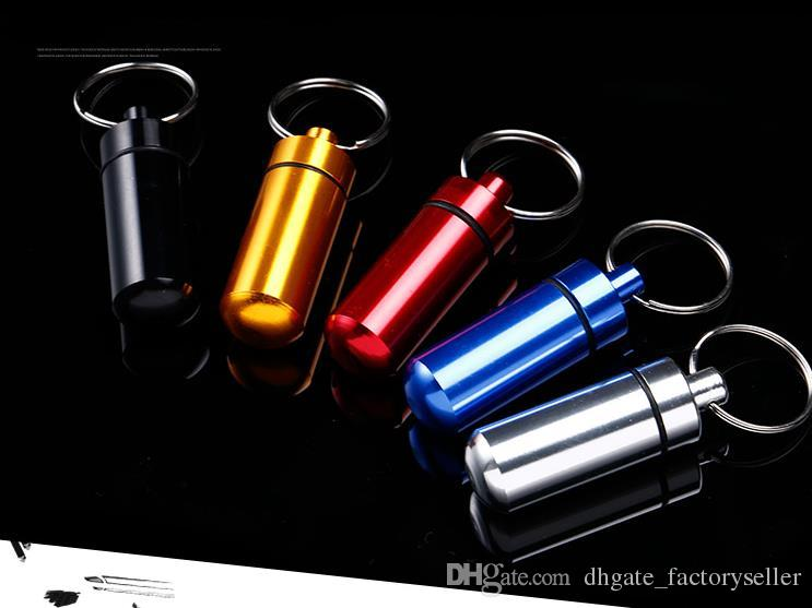 DHL 50*16mm Mini Aluminum Waterproof micro Pills Box Case Bottle Holder Container Keychain Keyring In stock