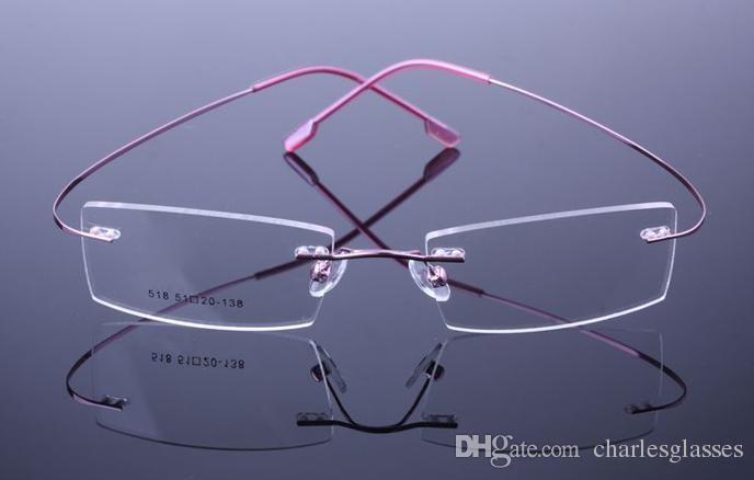 التجزئة 1 قطع غير المسمار بدون شفة النظارات البصرية إطارات الذاكرة التيتانيوم نظارات للوصفات الطبية العديد من الألوان 518