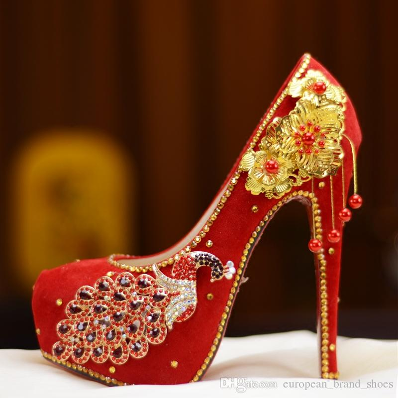 b98116d695e7 Chinese Style 100% Handmade Wedding Shoes Women S High Heels Crystal Shoes  Bride Red Phoenix Pumps Party Shoes Casual Shoes Women Shoes From ...