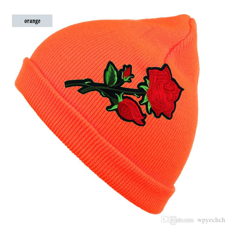 Women's Solid Beanie with rose Flower Multicolors Warm Knit Hat Womens Winter Hats Ladies Ski Cap Stretchy Knitted Casual Skullies
