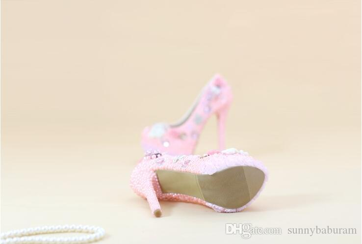 Wholesale Cinderella Shoes Pink Pearls Crystal High Heels Prom Evening Shoes Luxury Bridal Bridesmaid Hand-made Wedding Shoes 024