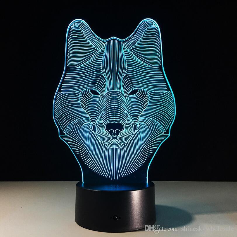 Regalo de navidad 3D Animal en forma de cabeza de lobo luz nocturna LED es cambiar táctil niños lámpara de escritorio junto a la cama