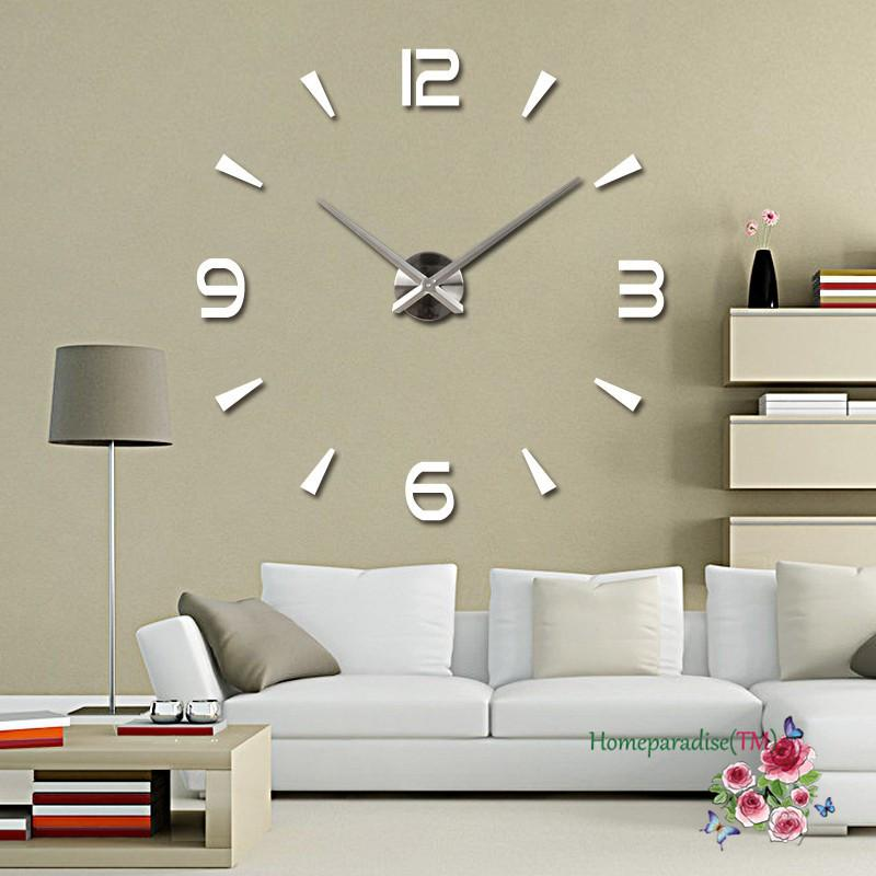 Wholesale 25 40 Arabic Numbers Arrows Large Hands Mirror Wall Clock Oversized Living Room Decor Sticker Decal Decoration Small Bathroom
