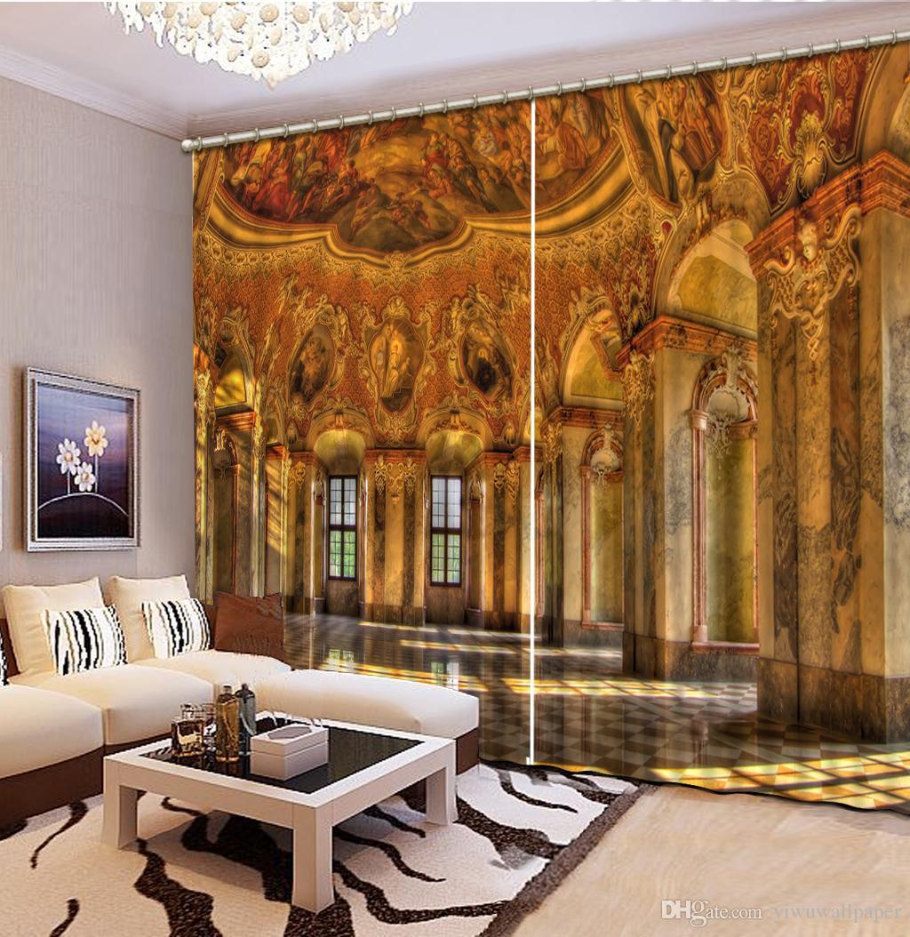 Mode 3D Décoration intérieure Belle rideaux de fenêtre pour rideau bâtiment doré salon personnalisé