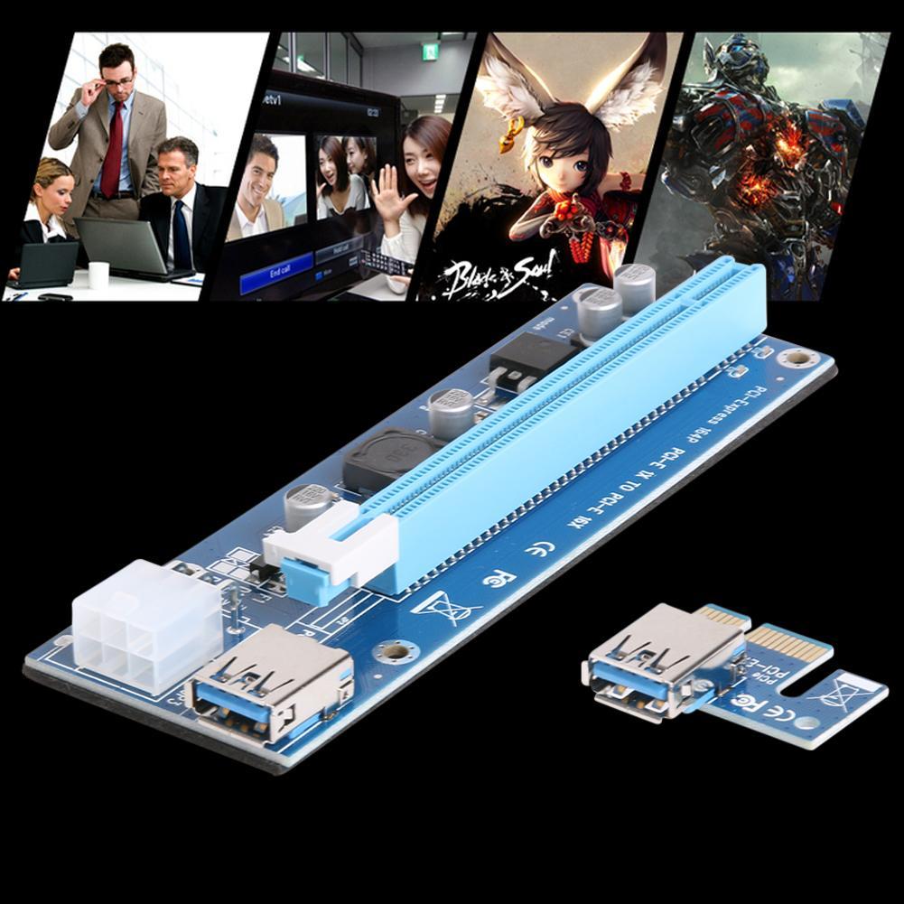 USB 3.I-E اكسبريس 1X إلى 16X موسع الناهض بطاقة PCI اكسبرس محول 6PIN DC-DC كابل محول للحصول على BTC بيتكوين التعدين