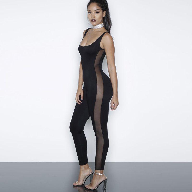 1fa104fb3971 Sexy Sleeveless Long Rompers Jumpsuit Plus Size Womens Jumpsuit Combinaison  Femme Black White Sexy Mesh Patchwork Bodysuit Overalls WT72912 Sexy  Bodysuit ...