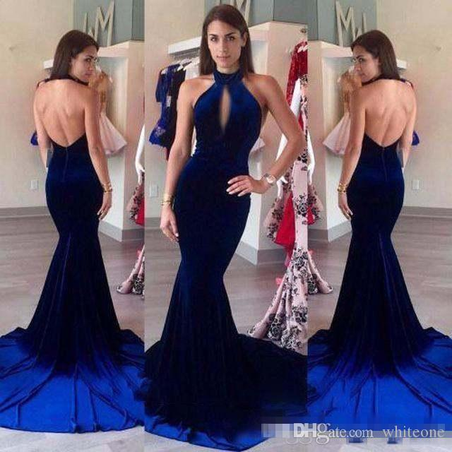 2017 New Sexy High Neck Halter Keyhole Velvet Mermaid Prom Dresses Evening Dress Royal Blue Backless Long Party Dresses Pageant Formal Gowns