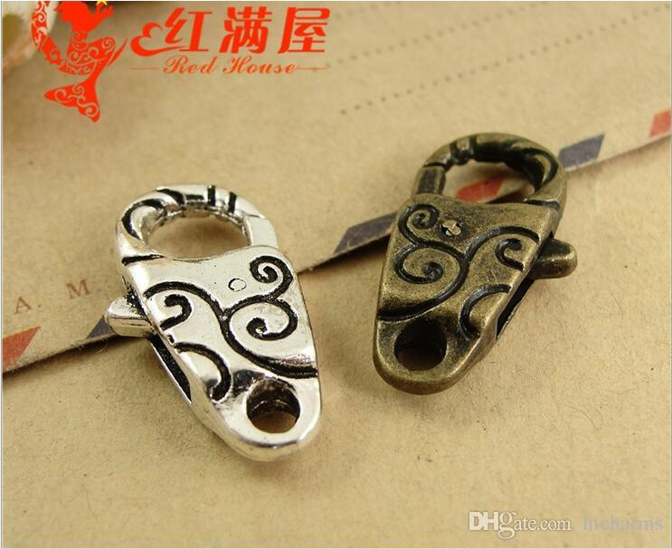 13*24MM Antique Bronze fashion zinc alloy lobster clasp for bracelet, vintage silver jewelry clasp for necklace, metal key ring holder hook