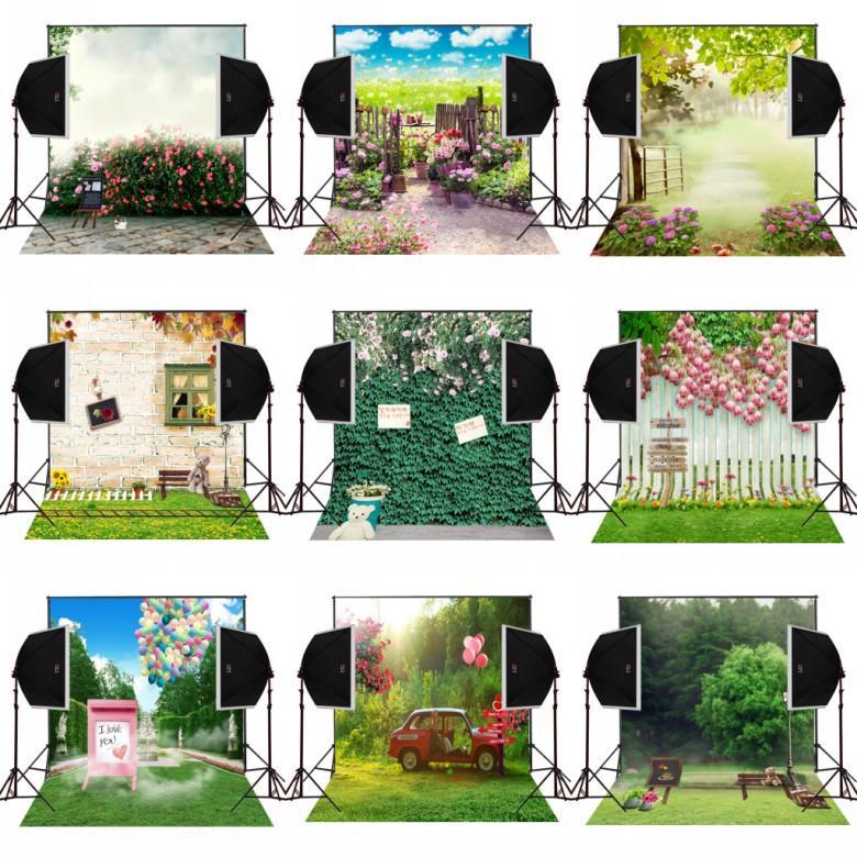 5x7FT nebbioso fiori giardino fotografia scenografia fondali oggetti di scena di nozze studio digitale panno fotocamera fotograpfica foto sfondo in vinile