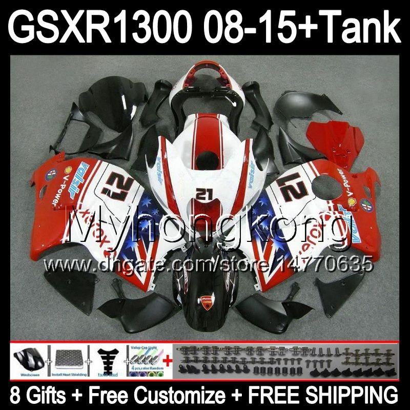 глянцевый белый 8gifts для Suzuki GSXR1300 Хаябуса 2008 2009 2010 2011 14MY253 GSXR-1300 1300 GSXR системы GSX Р1300 2012 2013 2014 2015 красный обтекатель