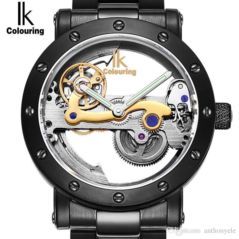 3ff239fcd42 Compre Ik AAA Marca De Luxo Mens Relógios Esqueleto Mecânico Automático  Designer De Moda À Prova D  Água Vestido De Couro Genuíno De Ouro À Prova  D  Água ...