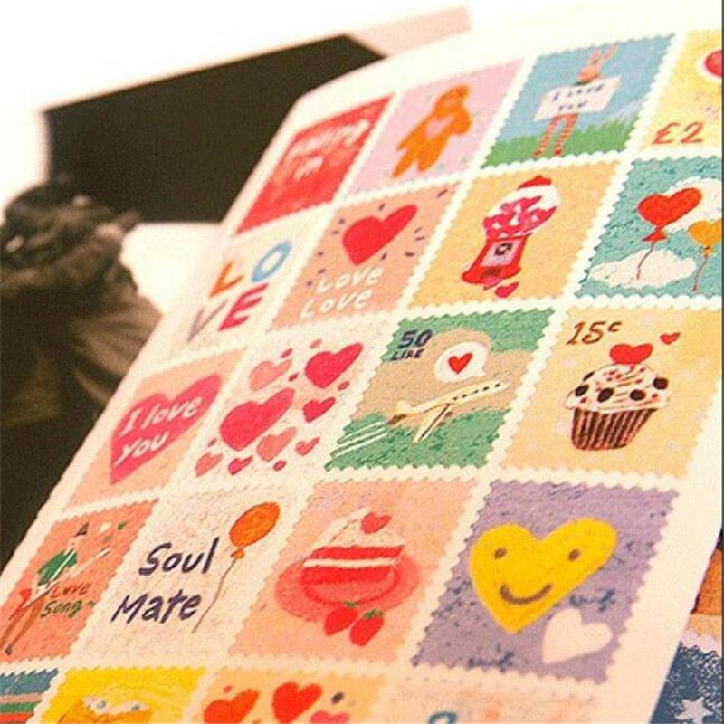 Wholesale- 80 pcs/lot (1 bag) Cute cartoon kawaii vintage stamp stickers scrapbook girl paper Retro Decoration Sticker Free shipping 911
