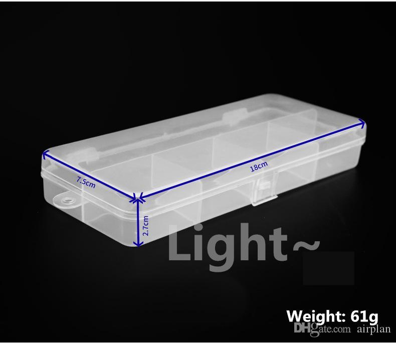 tipi balıkçılık dişli aracı pvc kutusu 1606746 - Şeffaf hafif beyaz 5 ızgara saklama kancası 18 * 7.5cm