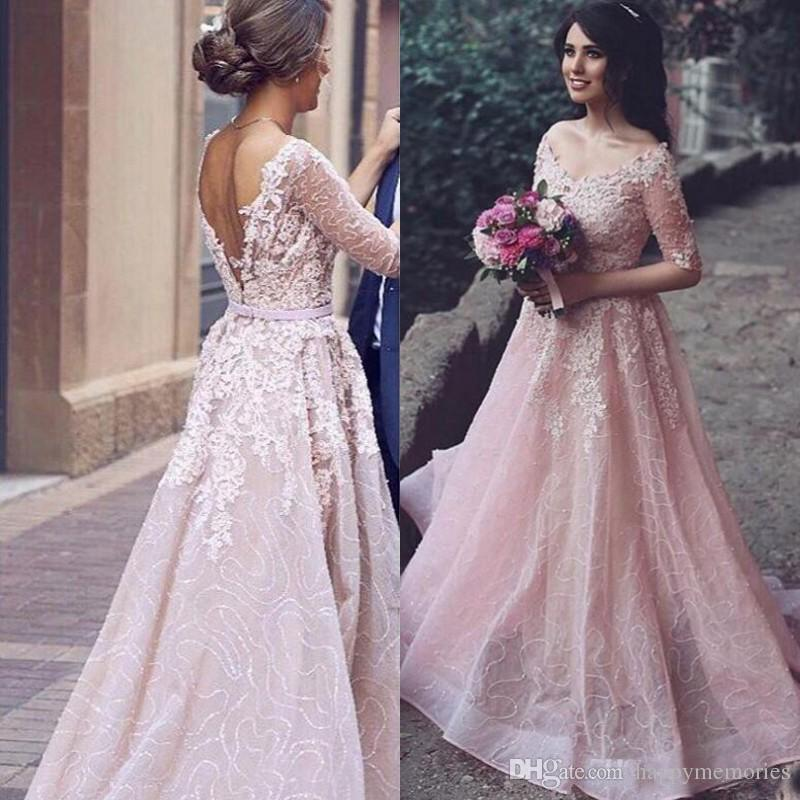 Discount Arabic 2017 Blush Pink Colored Wedding Dress A Line V Neck Lace Appliques Sequined Tulle Backless Bridal Gowns With Illusion Half Sleeves Champagne