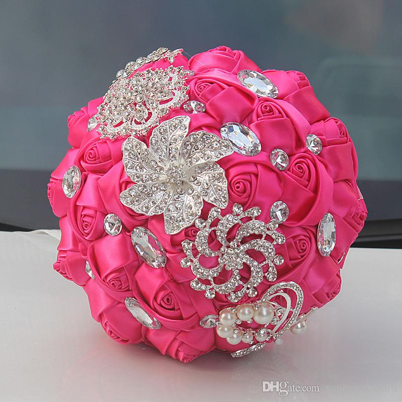 Hot pink wedding bridal bouquet simulation flower wedding supplies hot pink wedding bridal bouquet simulation flower wedding supplies artificial flower crystal sweet 15 quinceanera bouquet w228 a hot pink satin wedding mightylinksfo