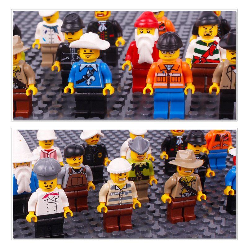 20 unidslote Bloques de construcción para niños Ladrillos Mini Dibujos Animados Múltiples Roles Figuras Juguetes de Muñecas Pequeñas Partículas Niños Puzzle Modelo