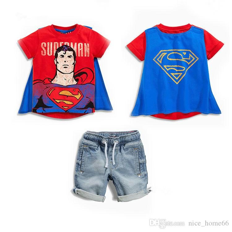 Summer New Baby Boys Cartoon Superhreo Capes Batman Short Sleeve T-shirt+Denim Shorts Sets Kids Outfits Children Clothing Suits