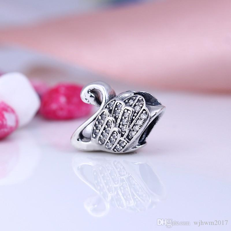 Majestic Swan Charms Bead 925 Sterling-Silver-Jewelry Pave Crystal Animal Beads DIY Shealia Brand Bracelets Jewelry Accessories HB322