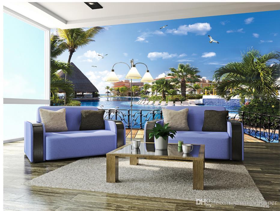 Ästhetische Moderne Resort 3D 3D Piazza TV Kulisse Wandwand Papiere für TV Kulisse