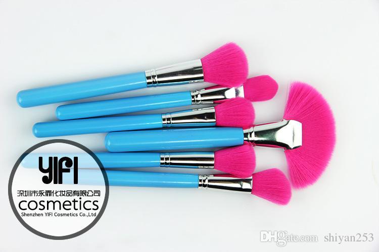 Nouveau Professionnel Maquillage Pinceau Ensemble Cosmétique Kit Fondation Poudre Make up Brosses Beauté Soins Du Visage + Sac Bleu Rose