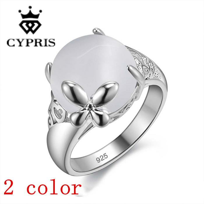 Price Hot Silver Ring Women Men Opal White Stone Nice Engagement ...