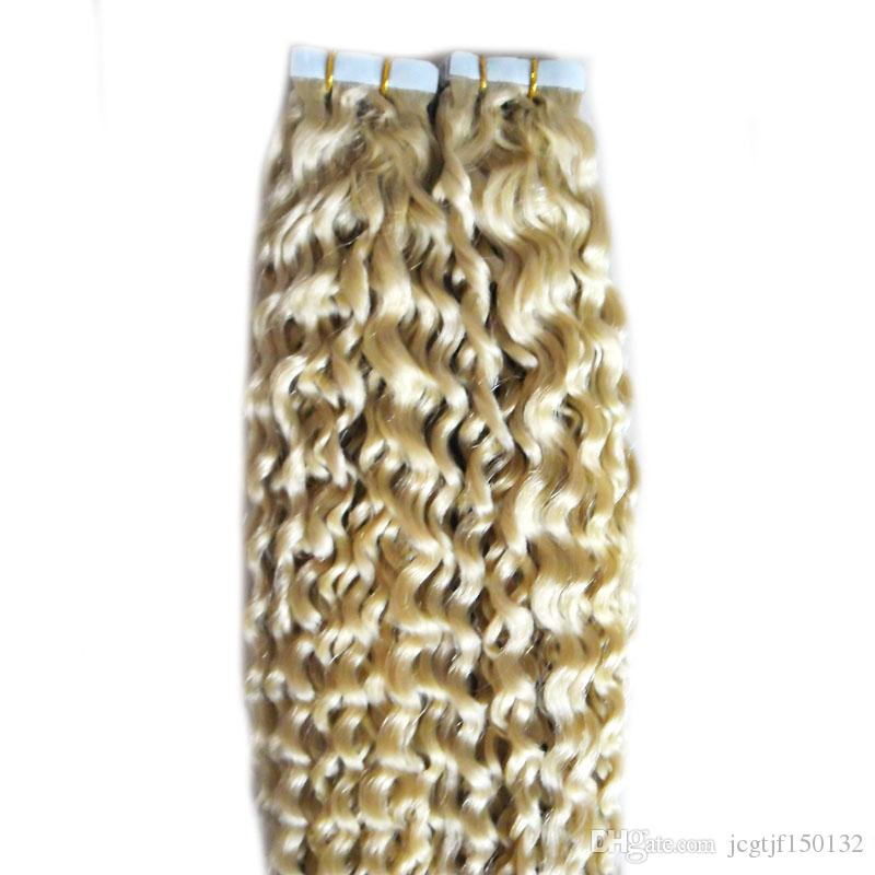#613 Bleach Blonde Brazilian virgin Hair double drawn tape hair extensions 100g blonde brazilian deep wave curly virgin hair